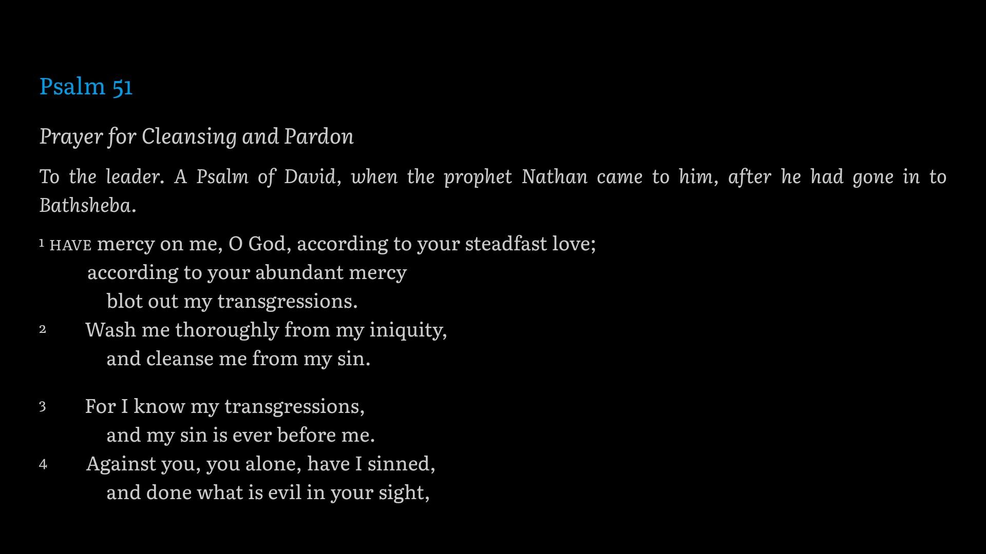 Psalm screenshot for regret sermon